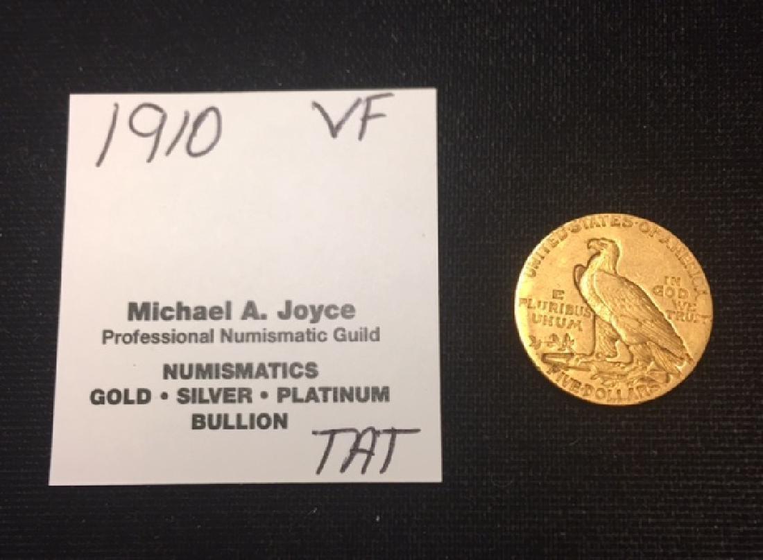 1910 $5 Gold Indian Half Eagle VF - 2