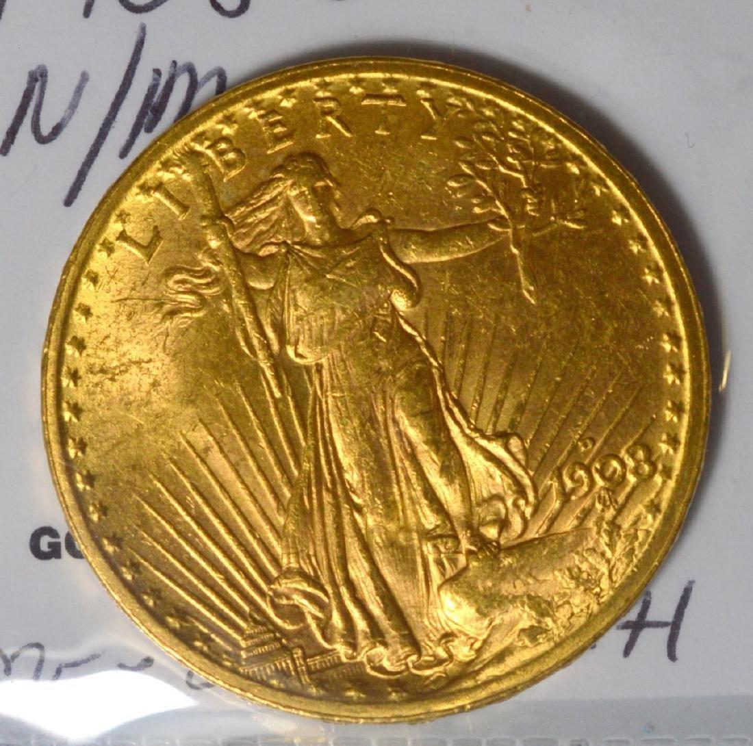 1908-D NM $20 Saint Gaudens Gold Double Eagle BU