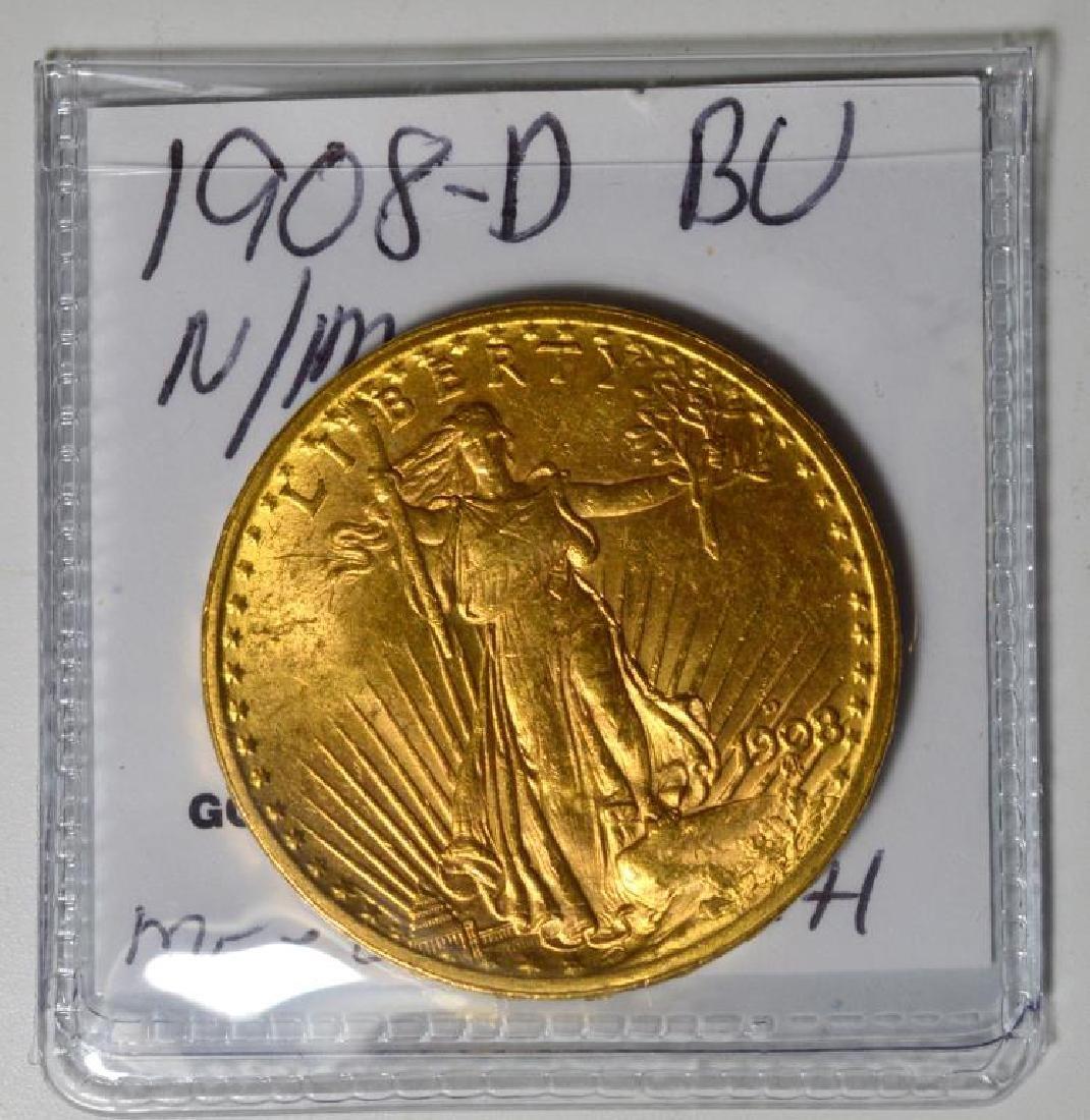 1908-D NM $20 Saint Gaudens Gold Double Eagle BU - 2