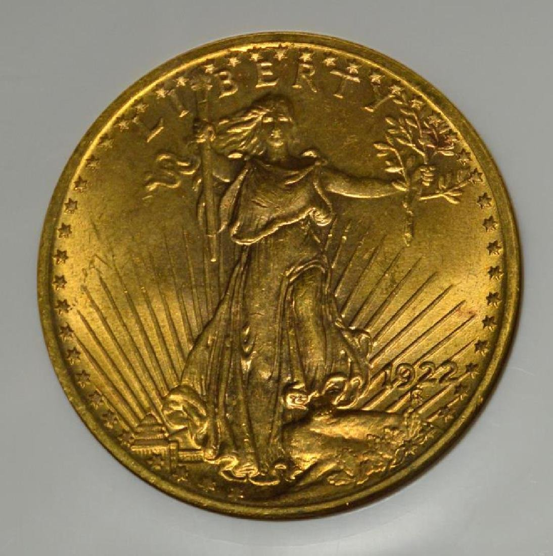 1922 $20 Saint Gaudens Gold Double Eagle NGC MS 63