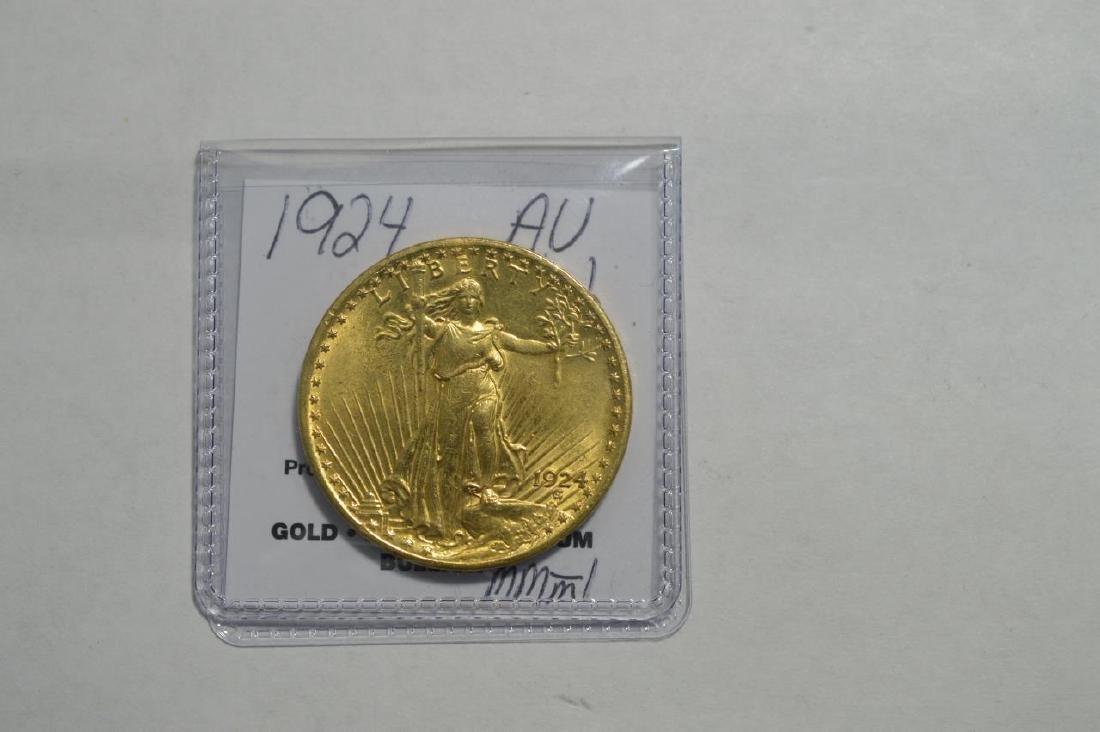 1924 G$20 Saint Gaudens Double Eagle AU Polished
