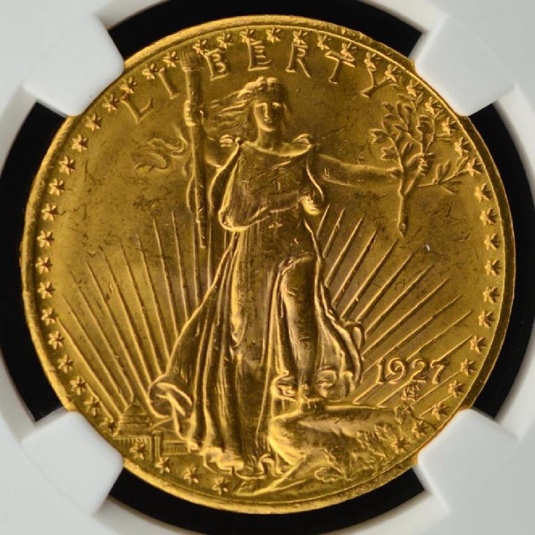 1927 G$20 Saint Gaudens Double Eagle NGC UNC Det.