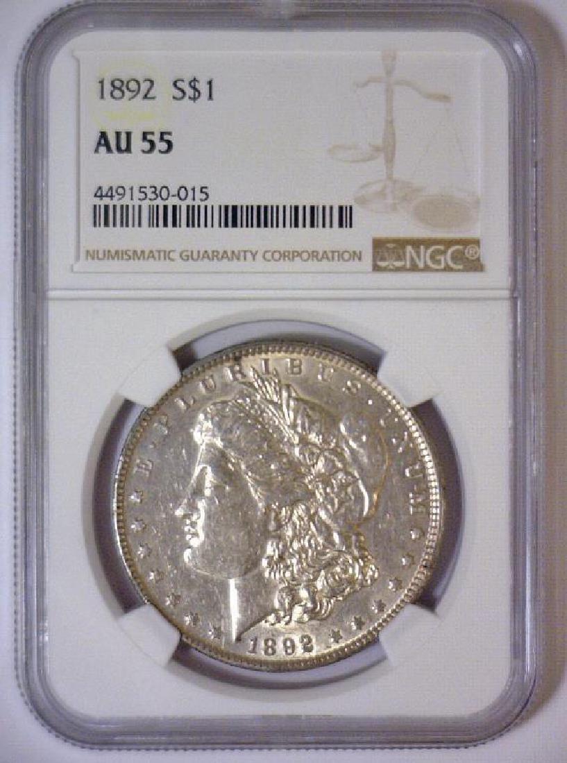 1892 Morgan Silver Dollar NGC AU55 - 2