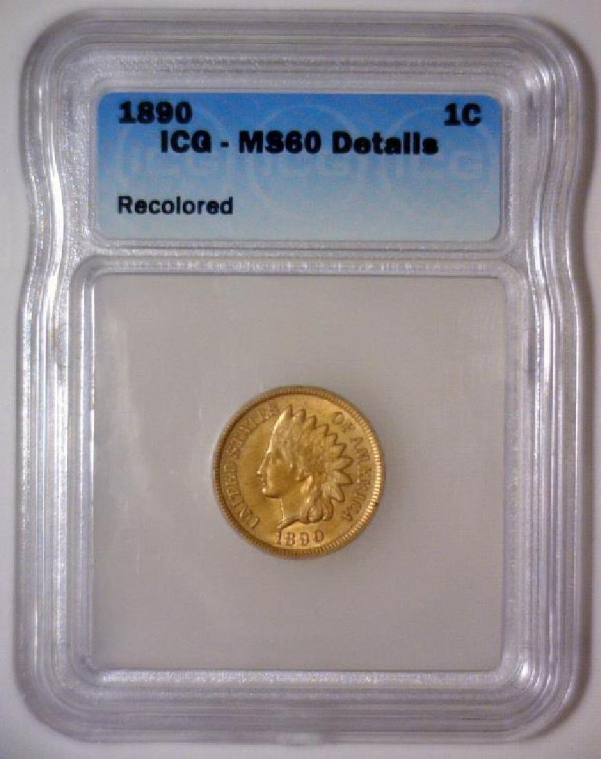 1890 Indian Head Cent ICG MS60 Details - 2