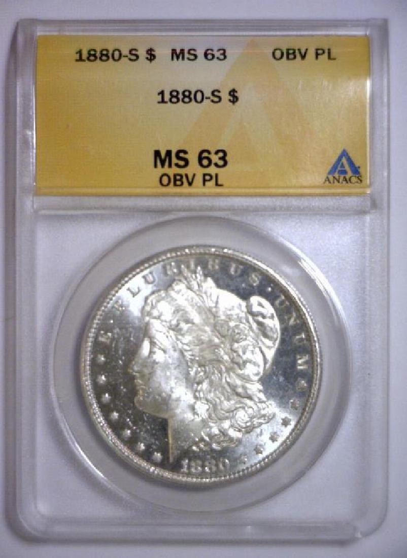 1880-S Morgan Silver Dollar ANACS MS63 OBV PL - 3