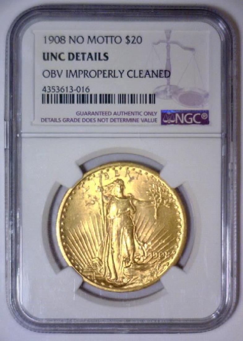 1908 NO MOTTO $20 Saint Gaudens NGC UNC Details - 2