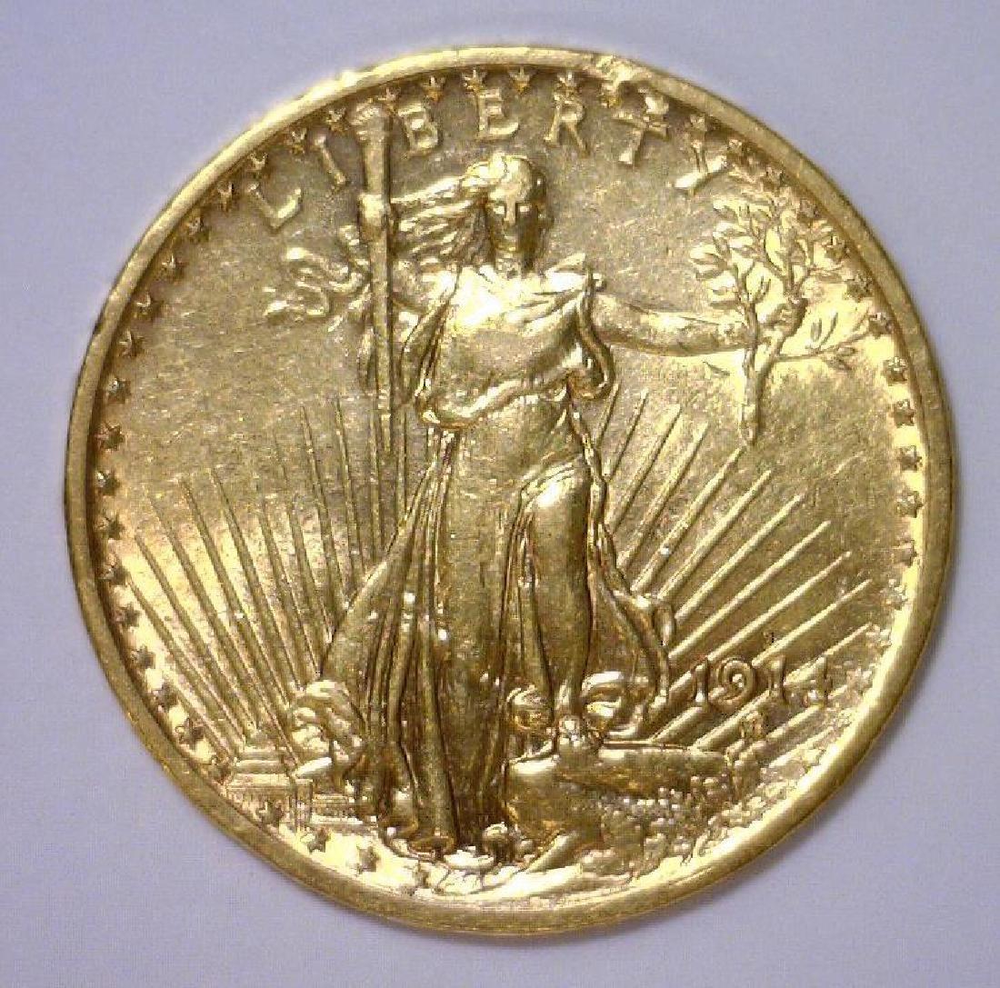 1914-S $20 Saint Gaudens Gold Double Eagle AU