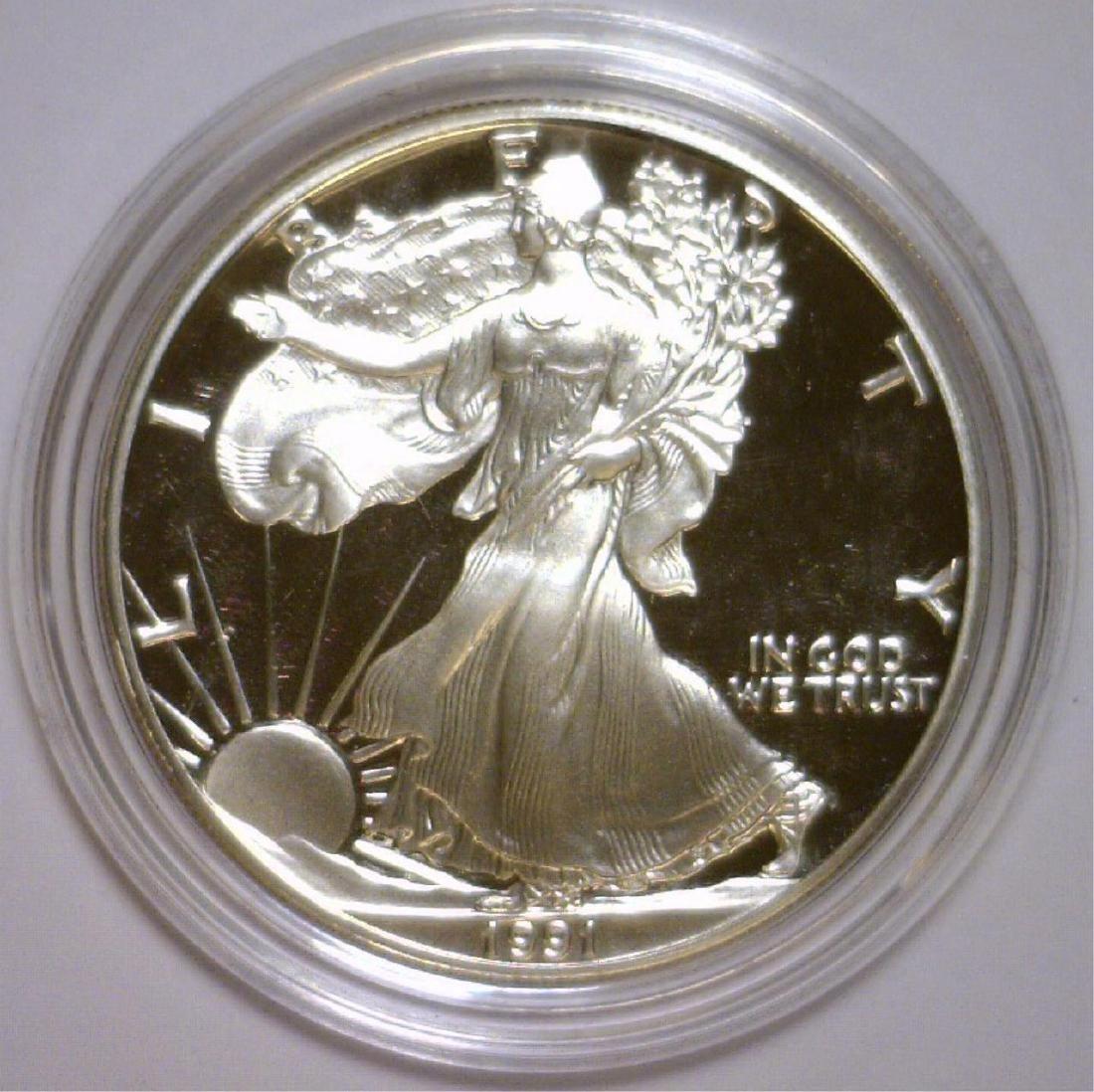 1991 Silver American Eagle Proof with Box & COA