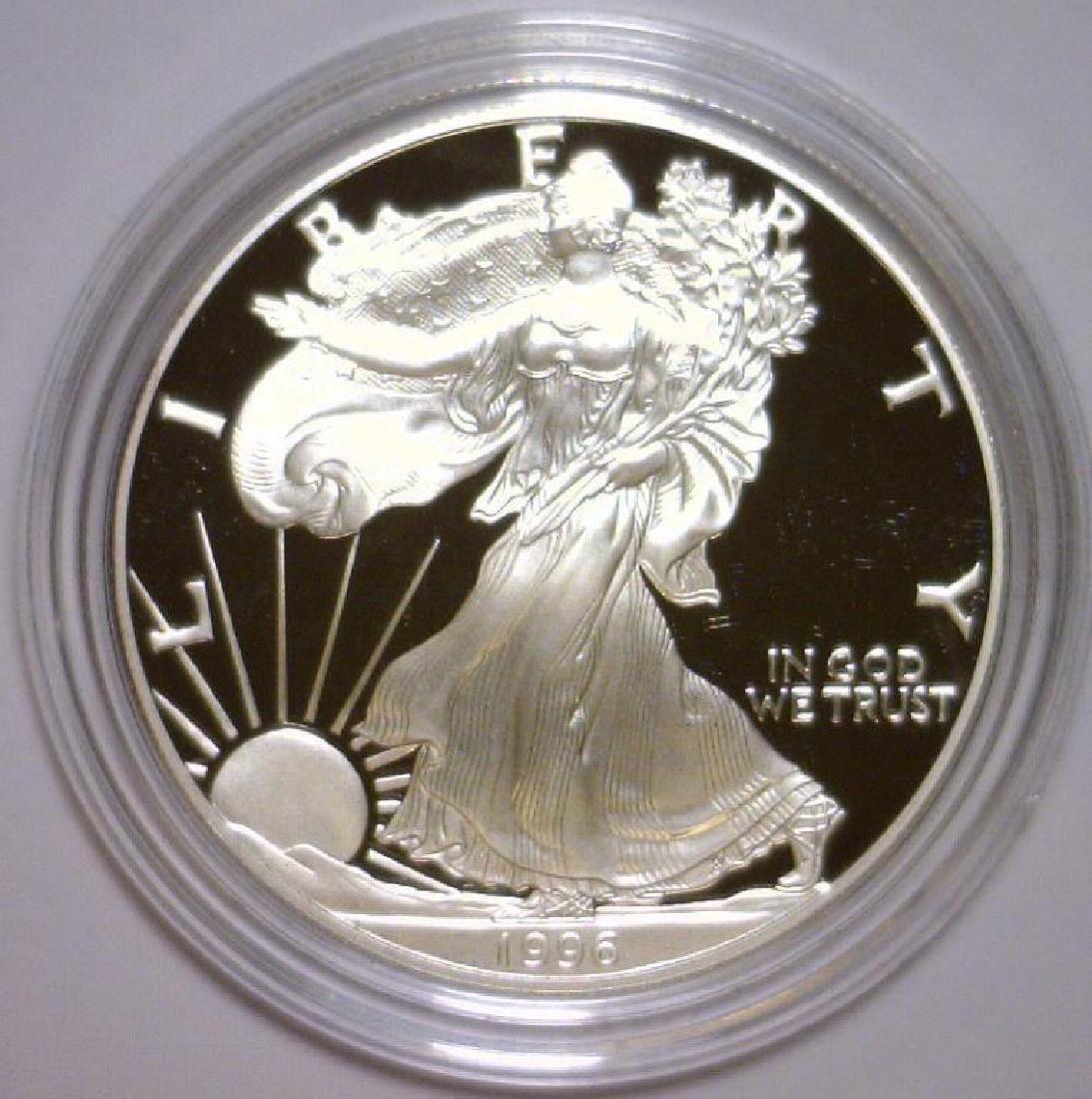 1996 Silver American Eagle Proof with Box & COA