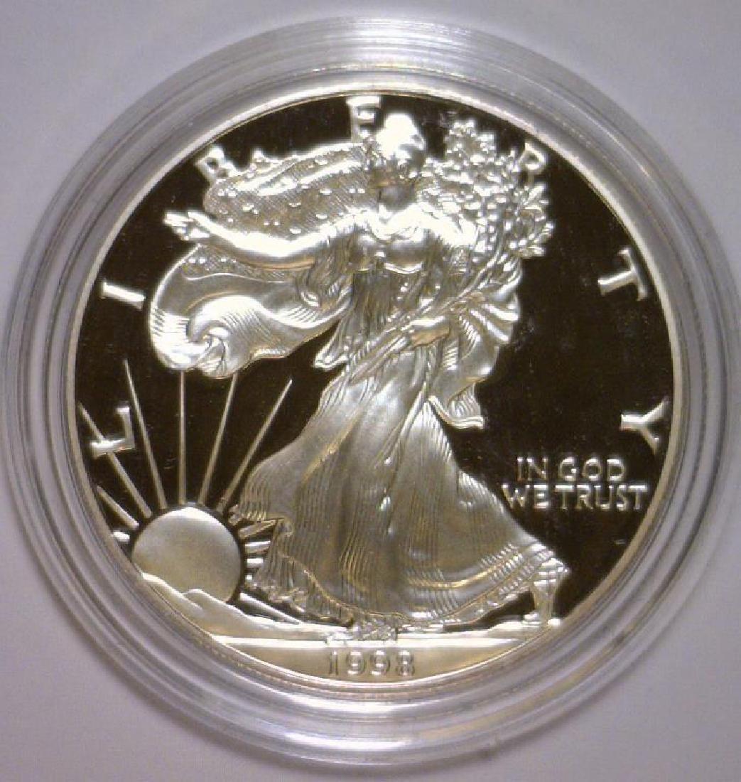 1998 Silver American Eagle Proof with Box & COA