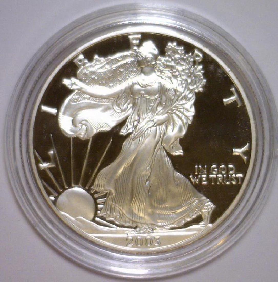 2003 Silver American Eagle Proof with Box & COA