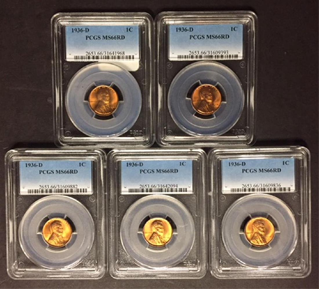 1936-D Lincoln Cent PCGS MS66 RD Investor Lot of 5