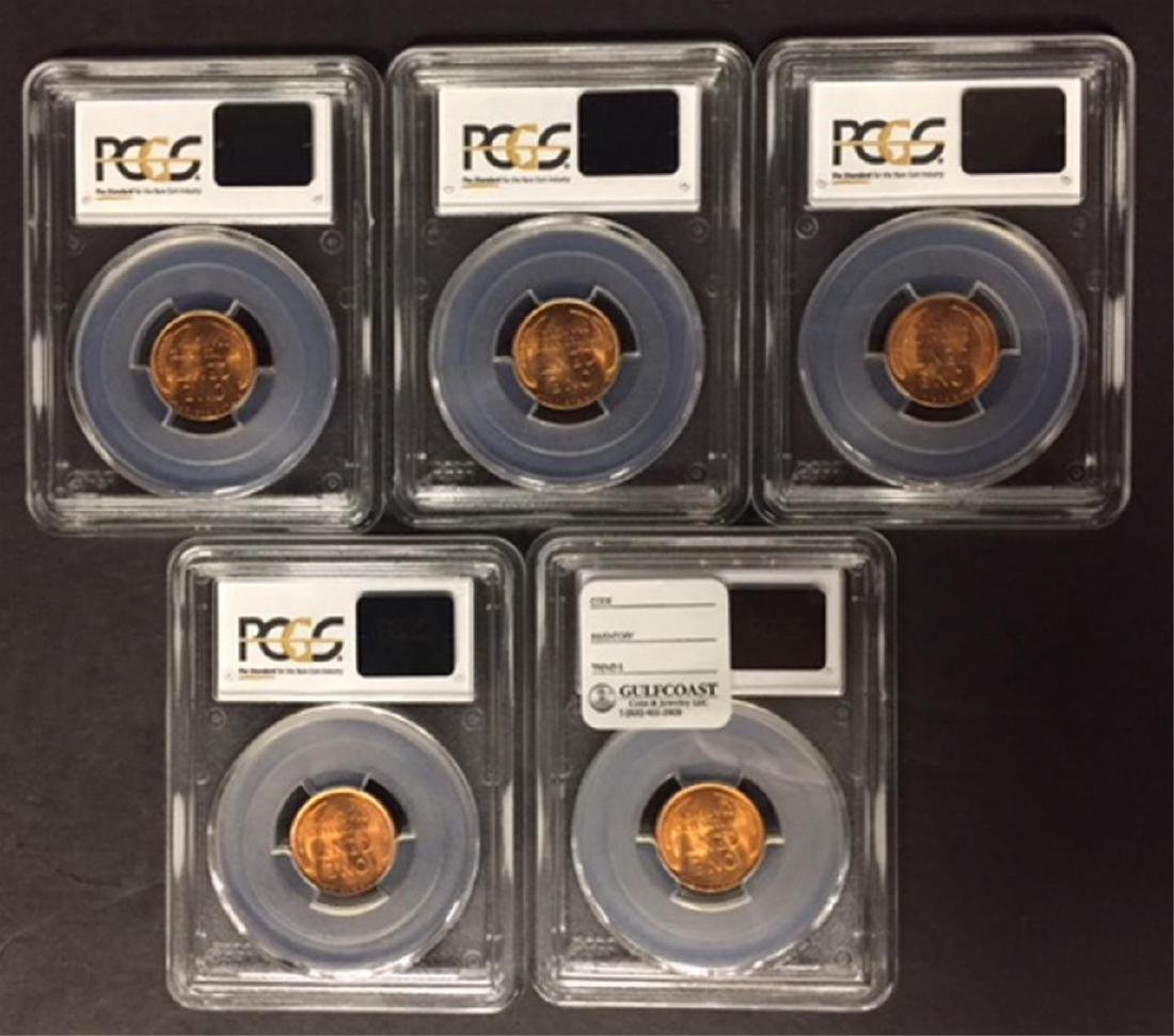 1936-D Lincoln Cent PCGS MS66 RD Investor Lot of 5 - 2