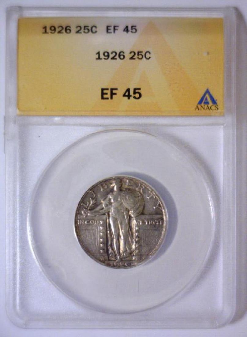 1926 Standing Liberty Silver Quarter ANACS XF EF45 - 3