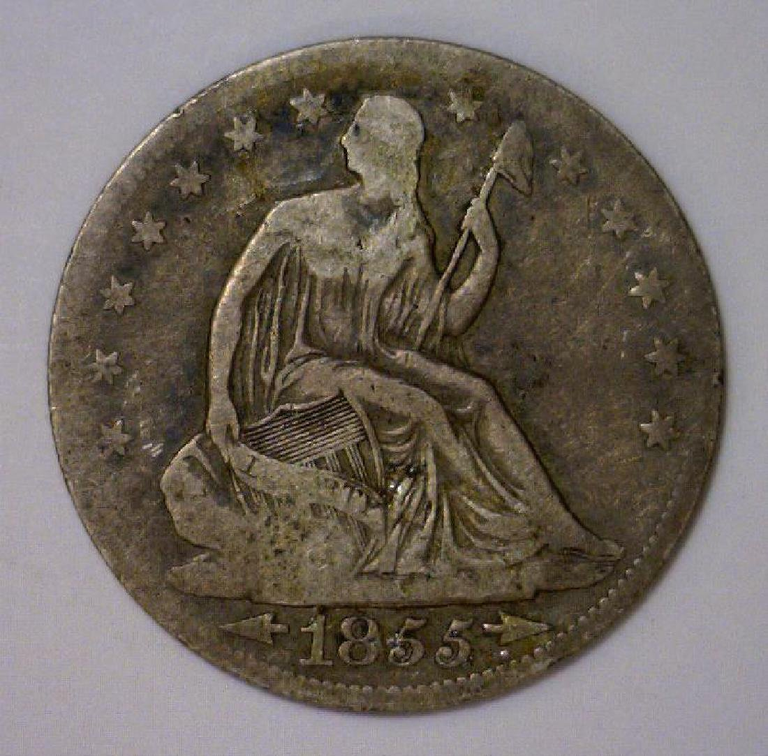 1855 Seated Liberty Silver Half Arrows At Date VG