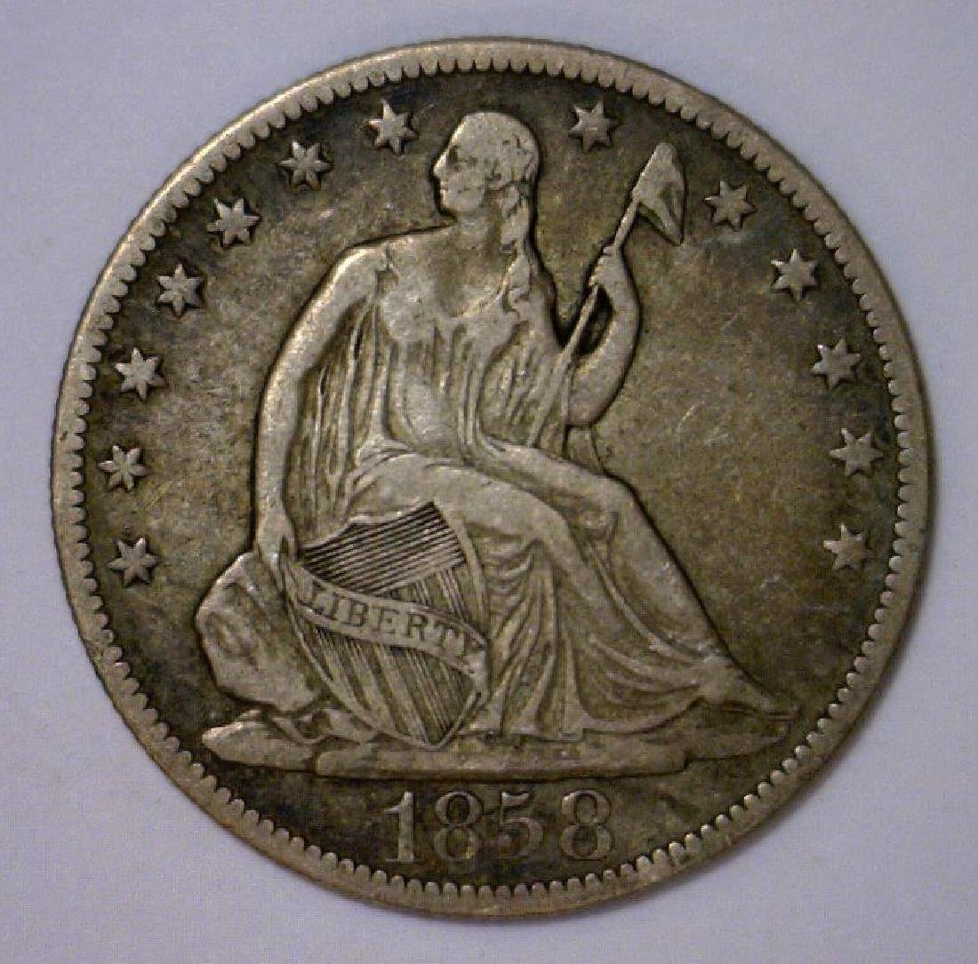 1858-O Seated Liberty Silver Half Very Fine VF