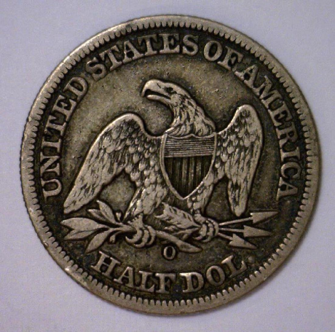 1858-O Seated Liberty Silver Half Very Fine VF - 2