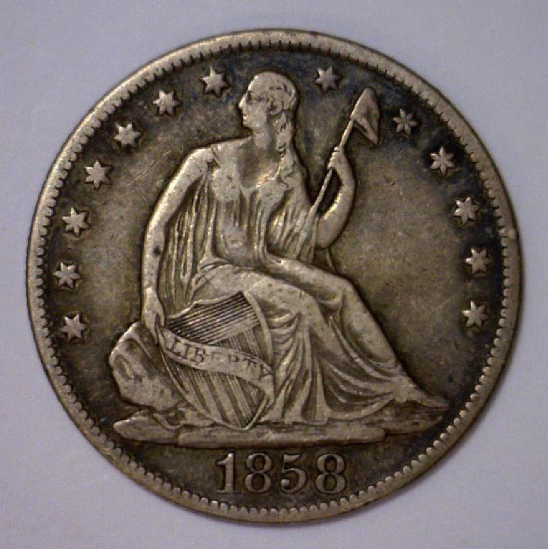 1858-O Seated Liberty Silver Half Very Fine VF+