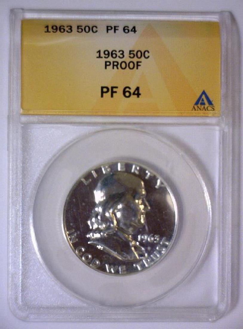 1963 Franklin Silver Half Proof ANACS PF64 - 2