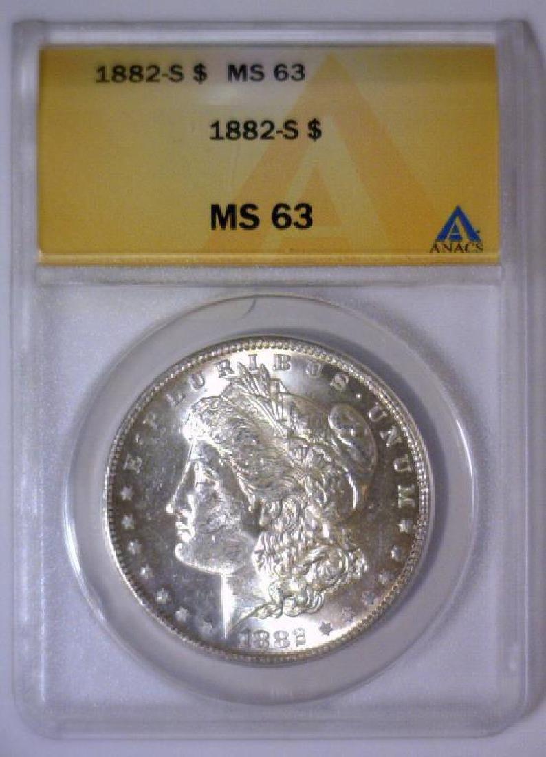 1882-S Morgan Silver Dollar ANACS MS63 - 2