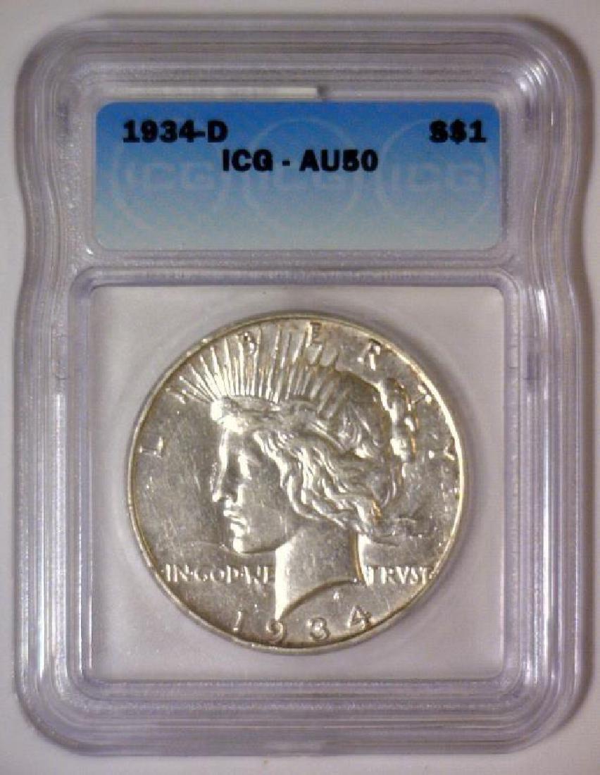 1934-D Peace Silver Dollar ICG AU50 - 2