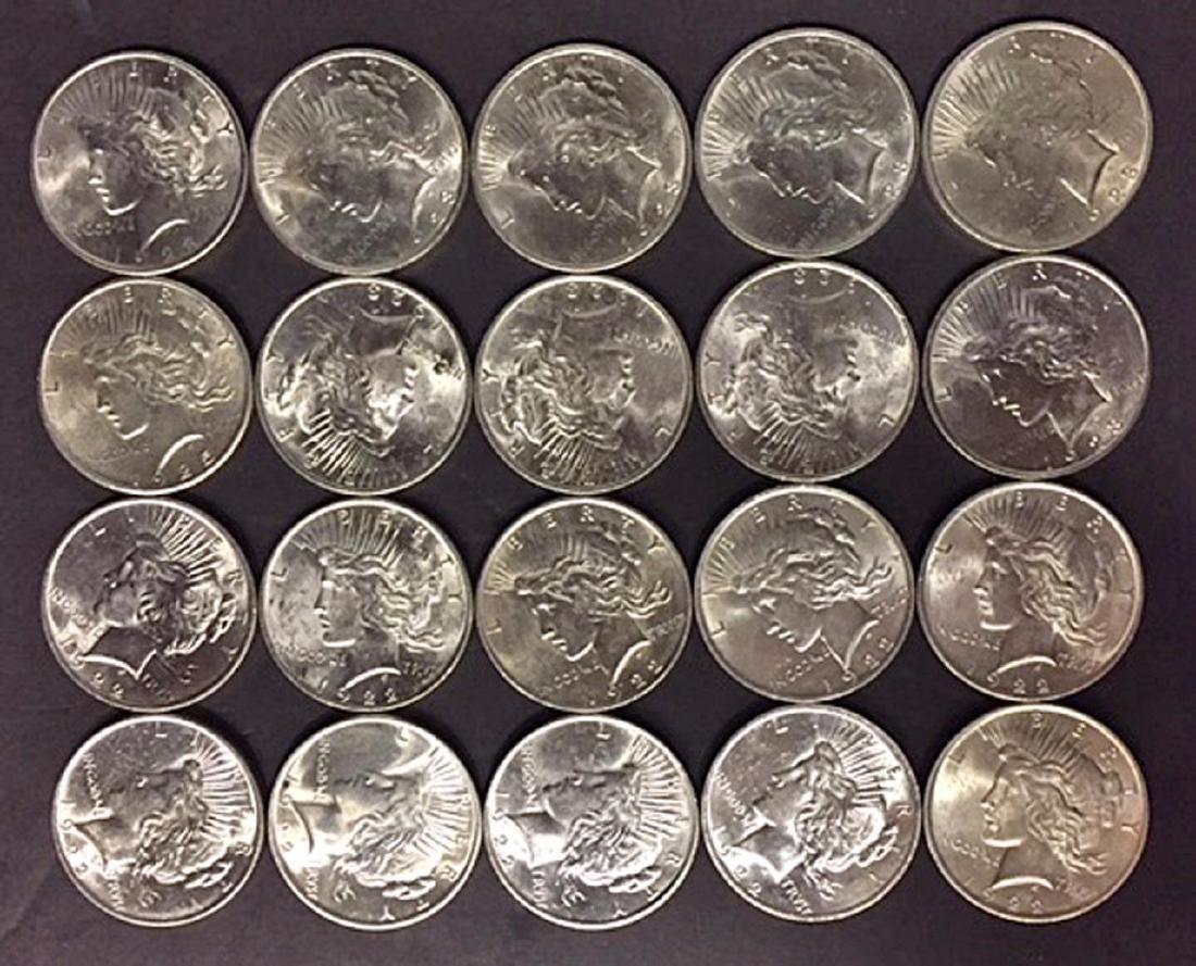 Silver Peace Dollar 20-Coin Roll AU/BU