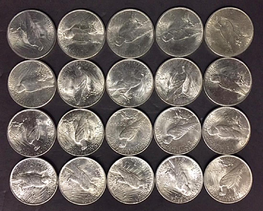 Silver Peace Dollar 20-Coin Roll AU/BU - 2