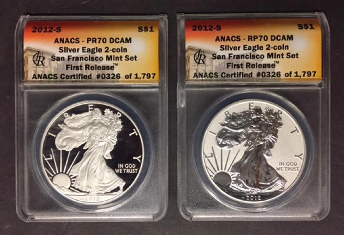 2012 Silver Eagle Set Proof & Reverse ANACS PR70