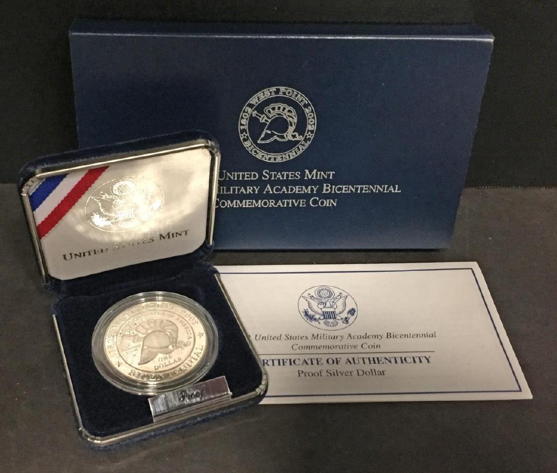2002 West Point Commem. Silver Proof $1 Box & COA