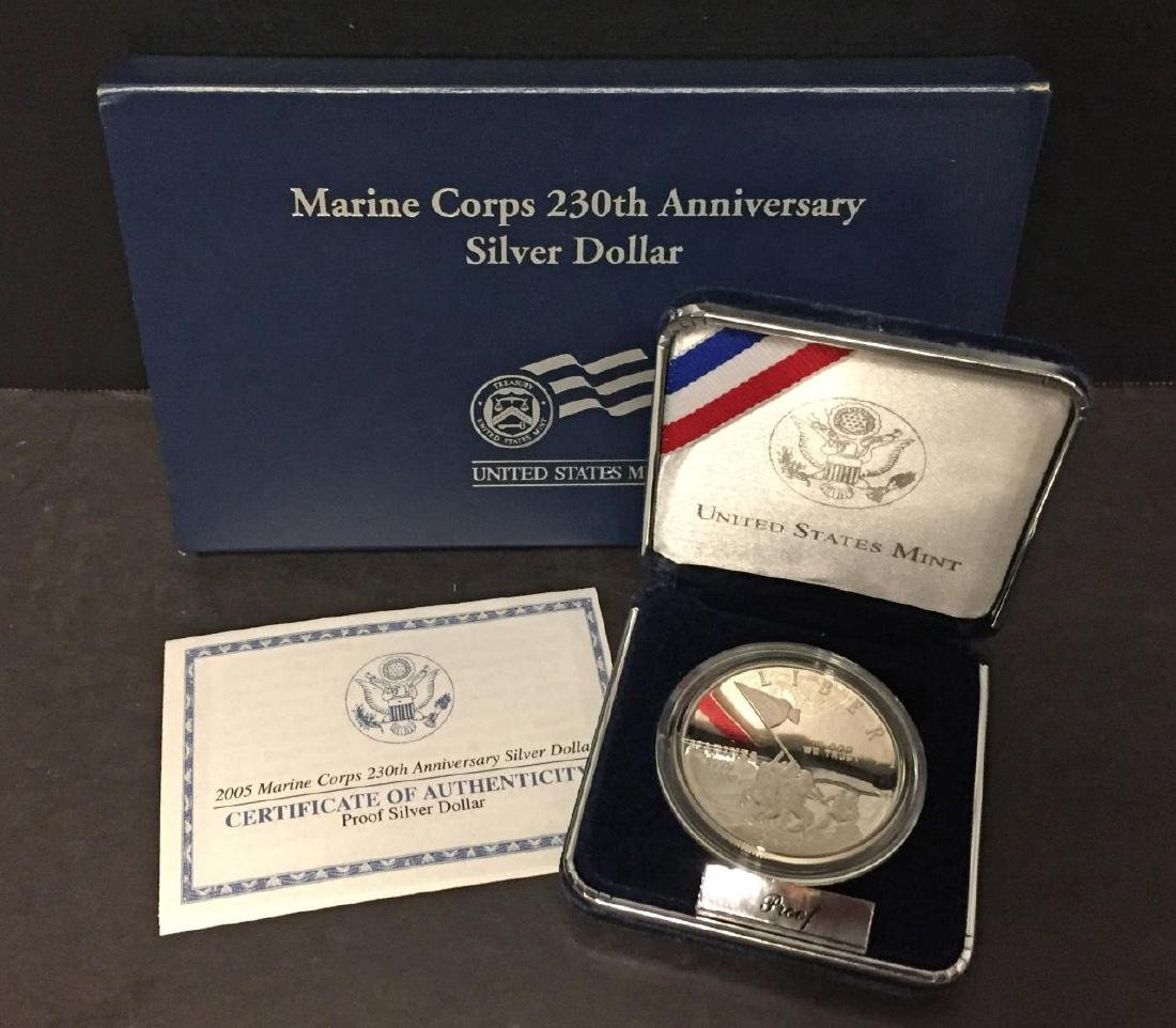 2005 Marines 230th Anniv. Silver Proof $1 OGP
