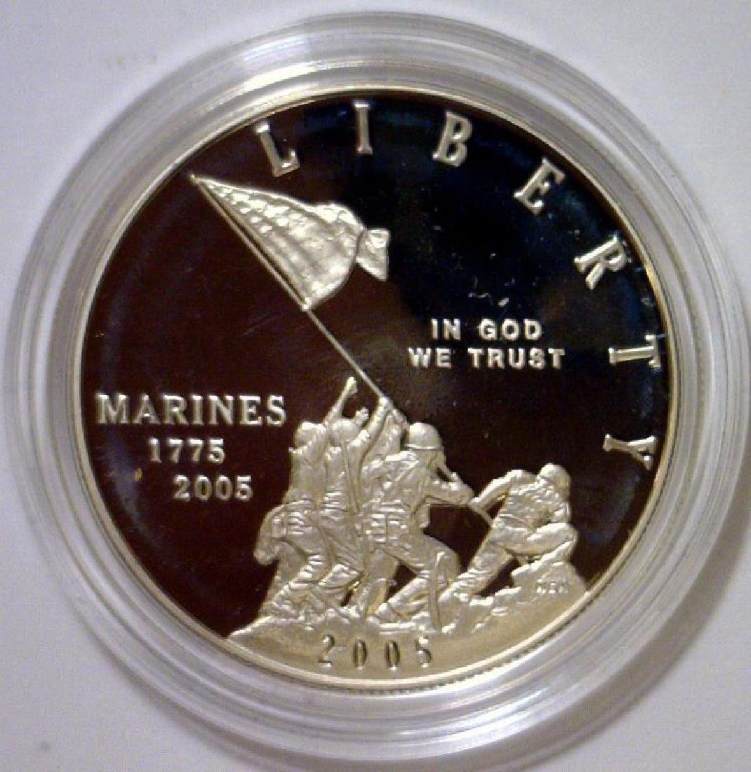 2005 Marines 230th Anniv. Silver Proof $1 OGP - 2