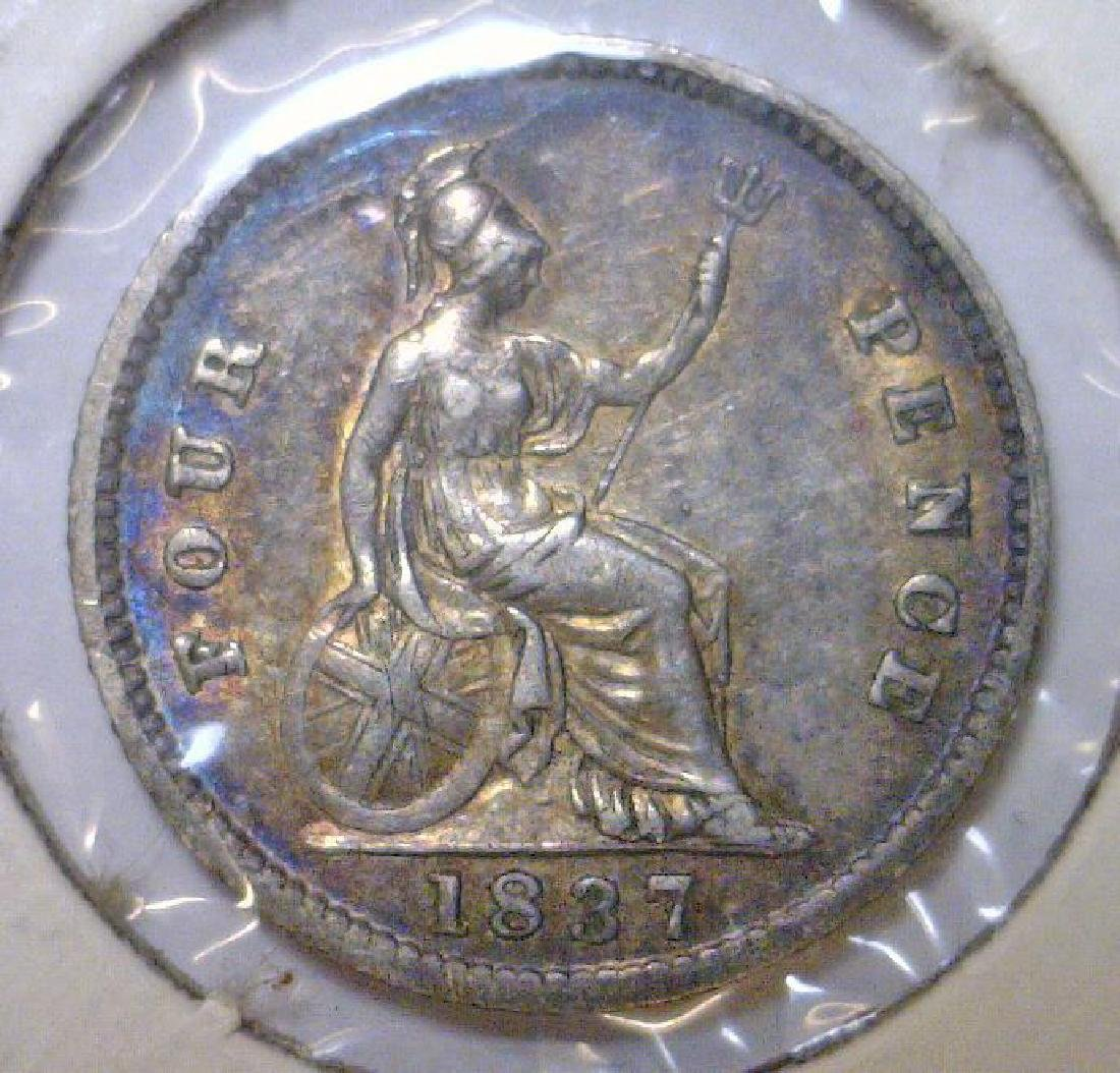 1837 Silver 4 Pence Great Britain KM#723 VF - 2