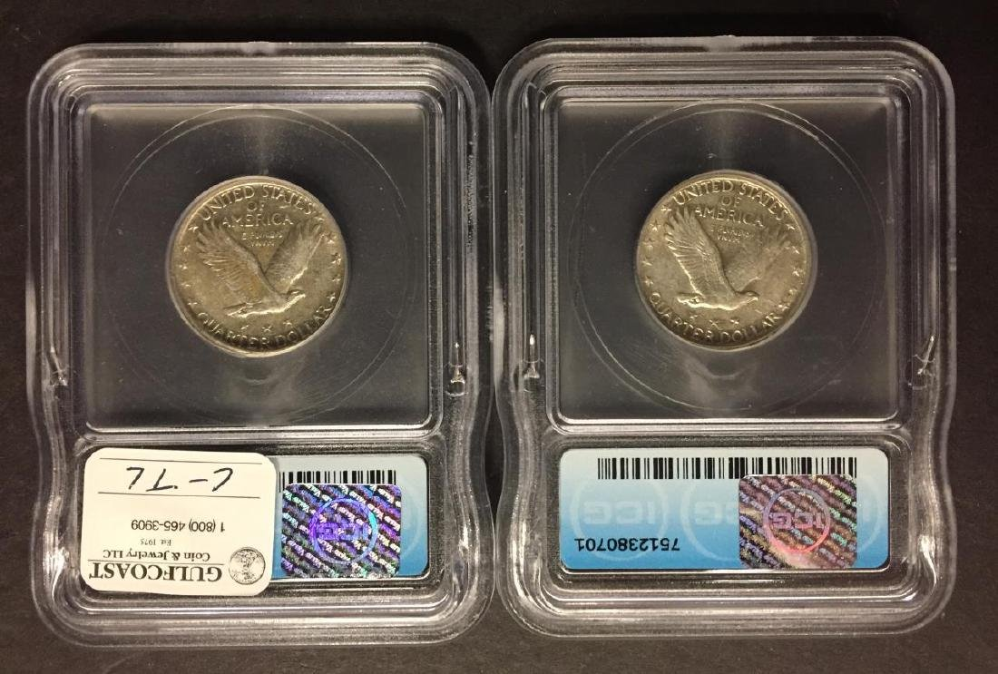 Two 1929 Standing Liberty Quarters ICG EF 40 45 - 2