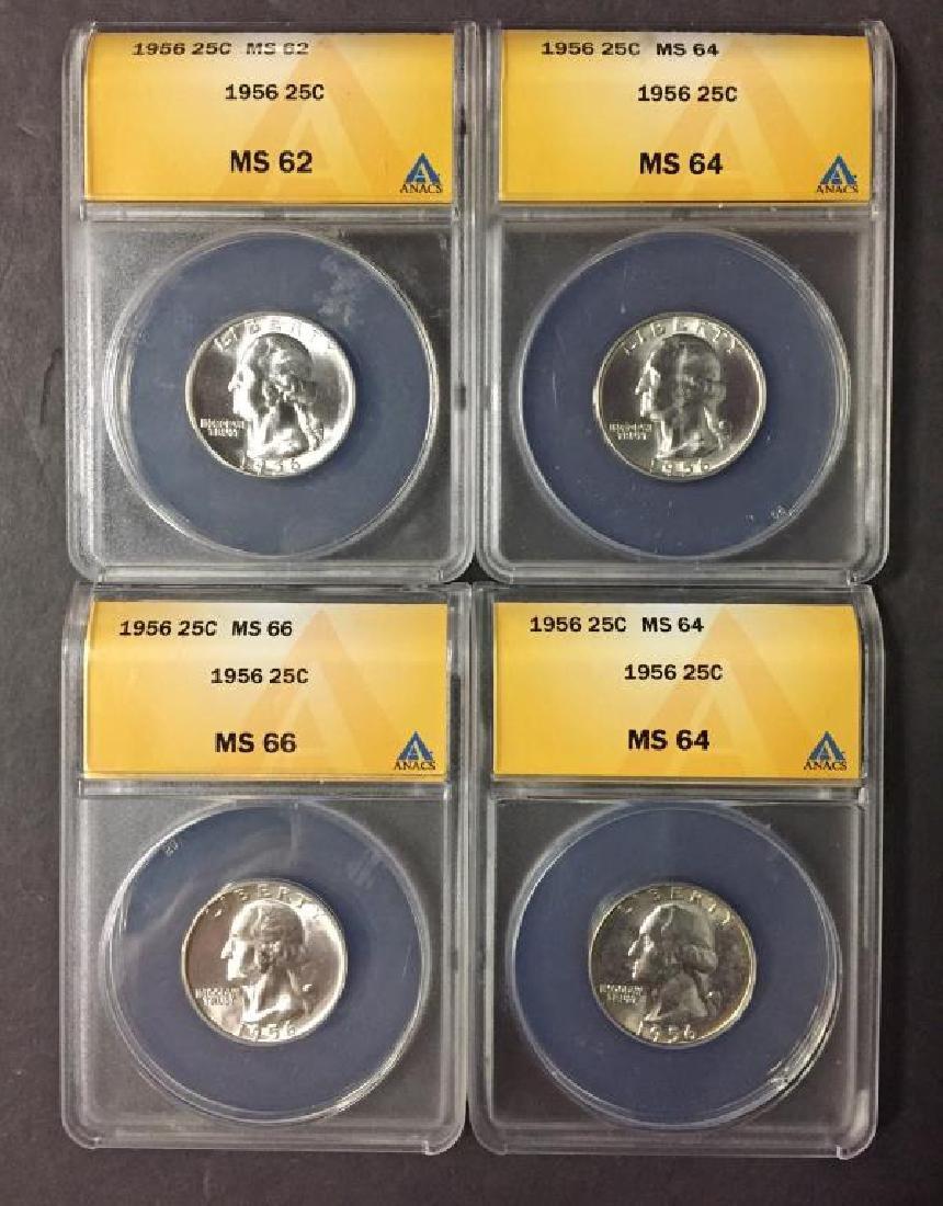 Investor Lot of 4 1956 Washington 25c ANACS MS BU