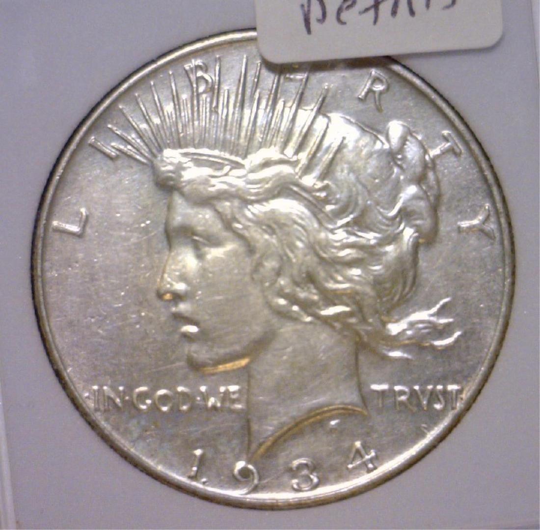 1934 Peace Silver Dollar AU Details