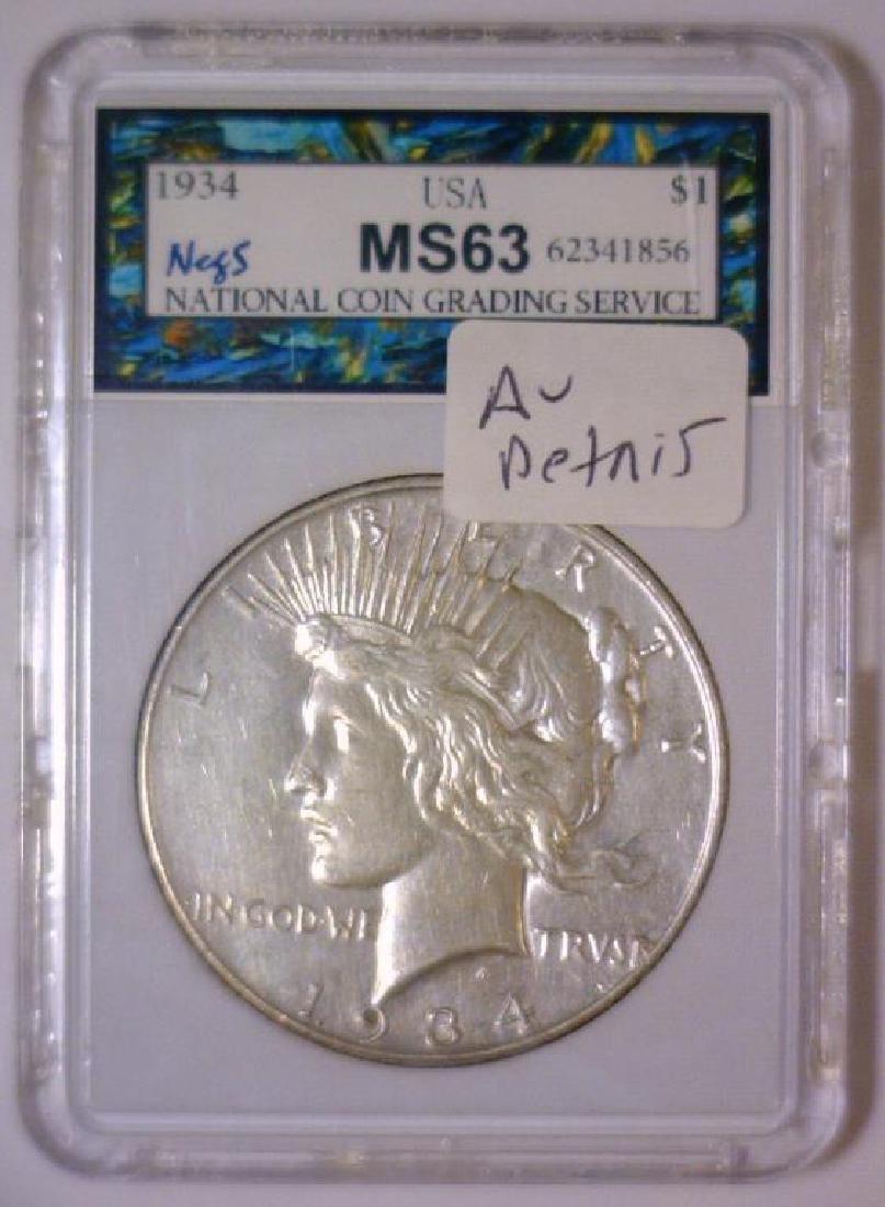 1934 Peace Silver Dollar AU Details - 3