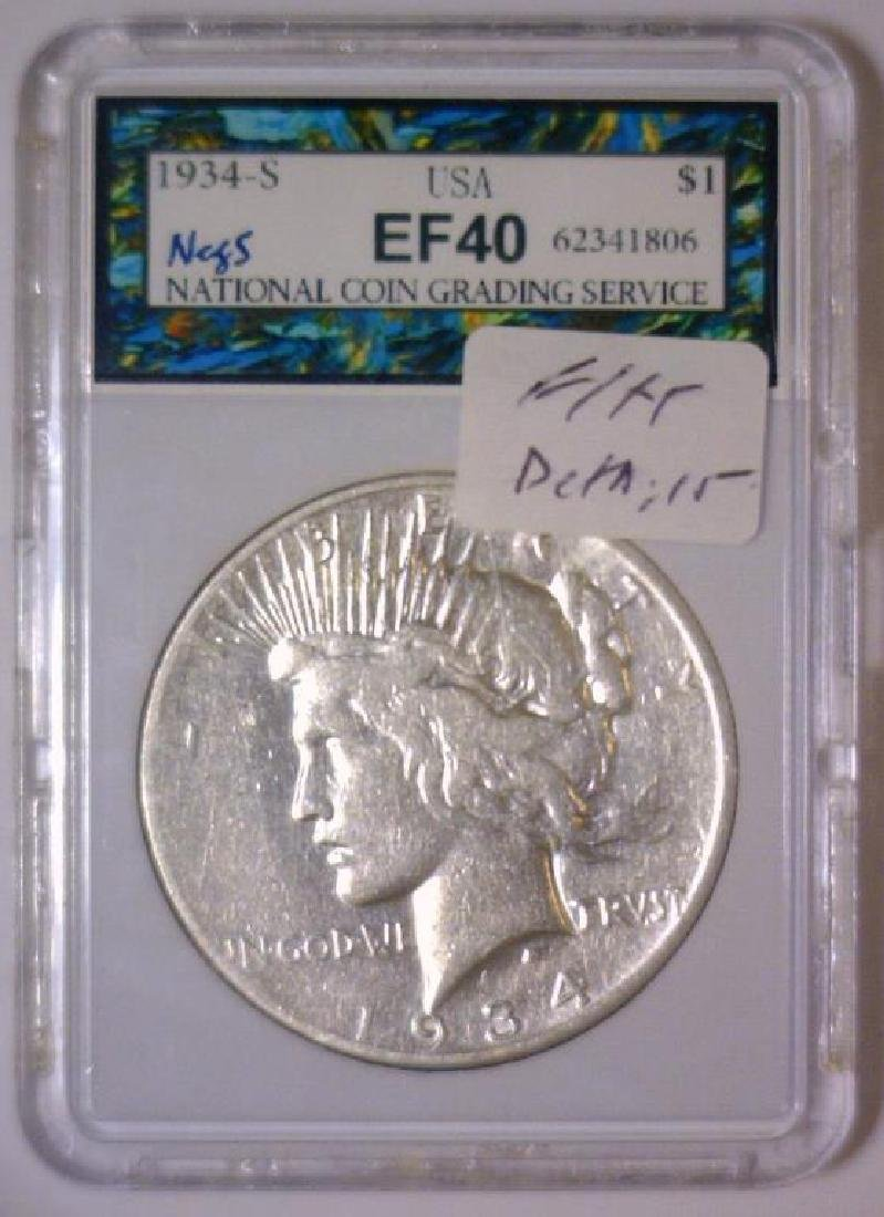1934-S Peace Silver Dollar Very Fine Details - 3