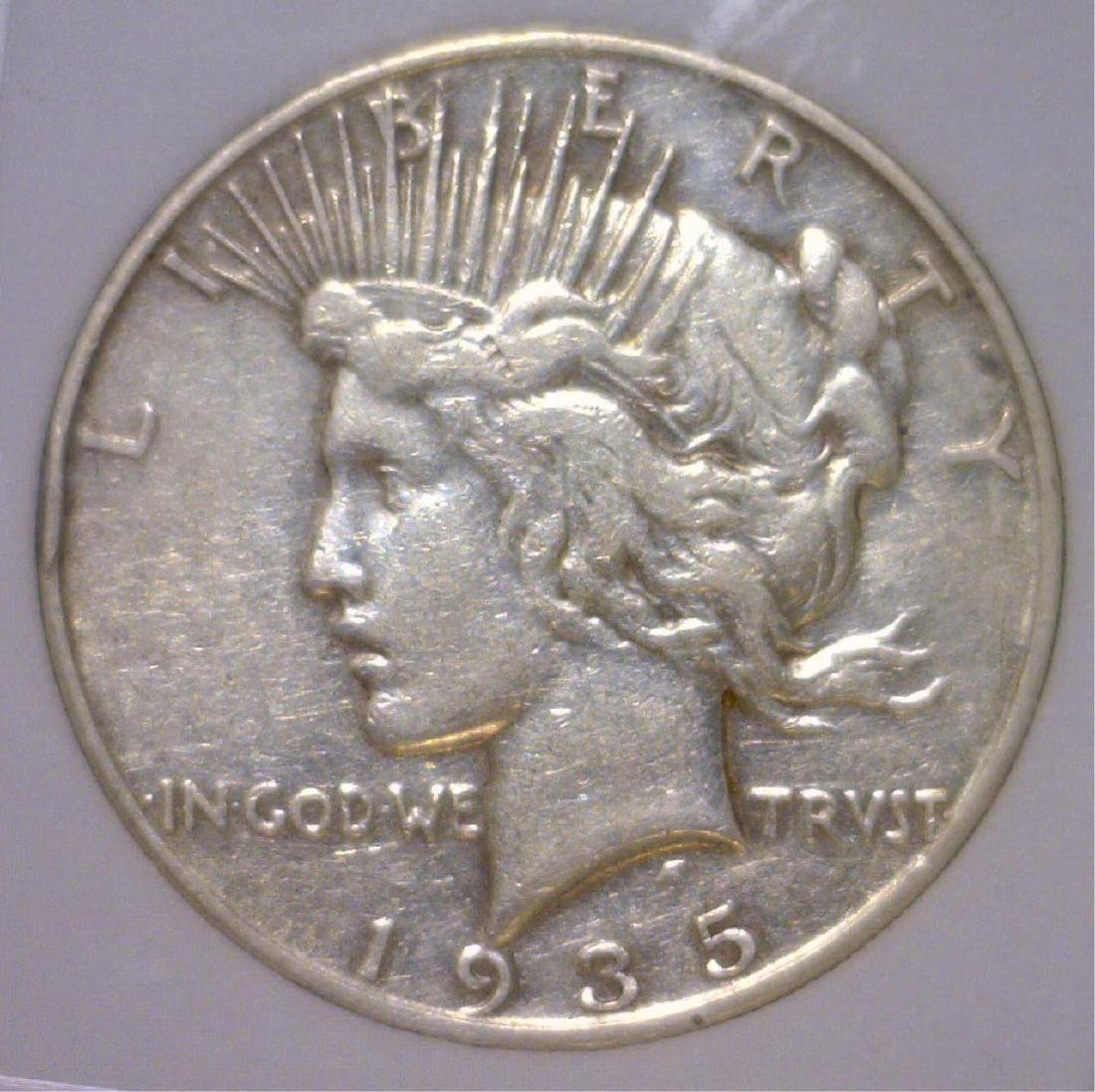 1935-S Peace Silver Dollar VF Details