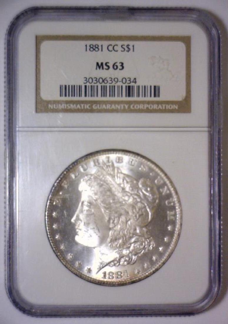 1881-CC Morgan Silver Dollar NGC MS63 - 2