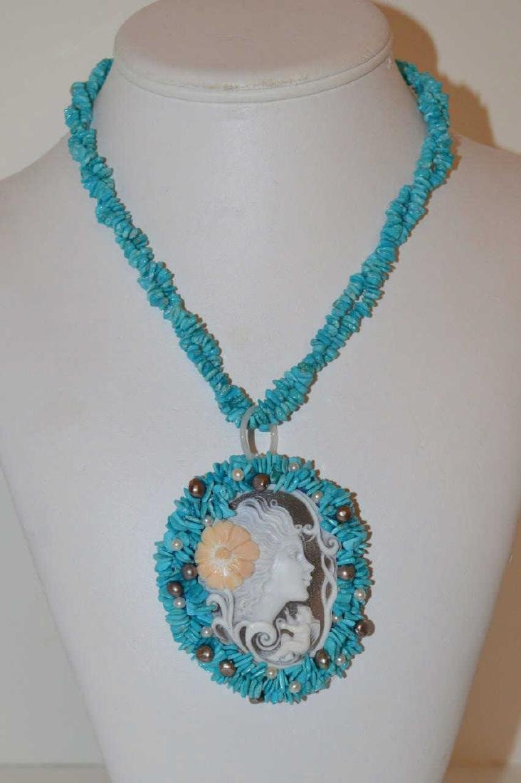 Turquoise and Cameo necklace by Carada