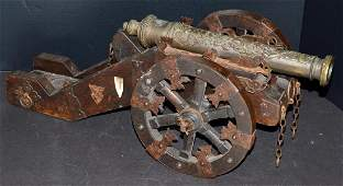 19th C Bronze & Wood High Relief Signal Cannon
