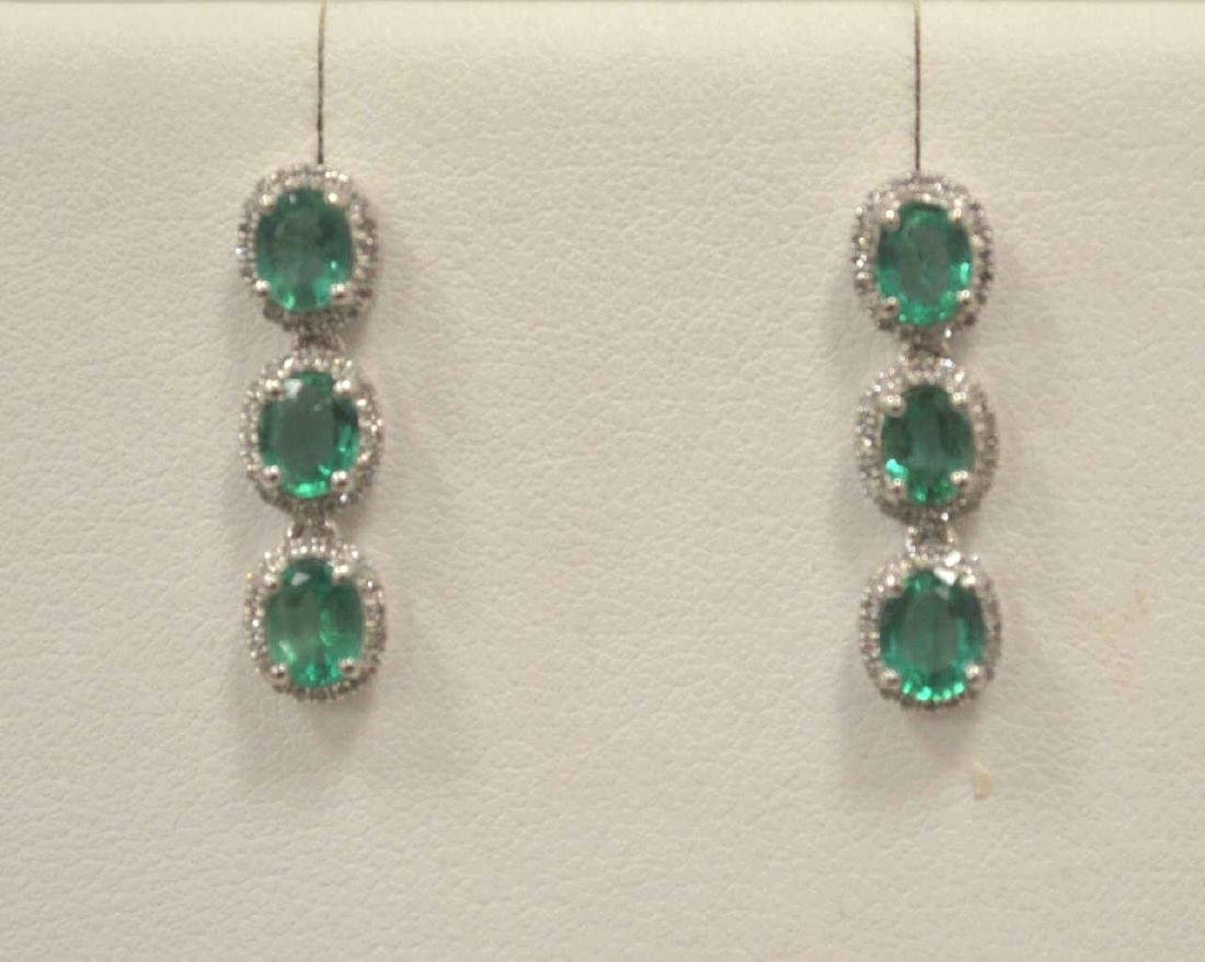 Platinum Emerald and Diamond Earrings