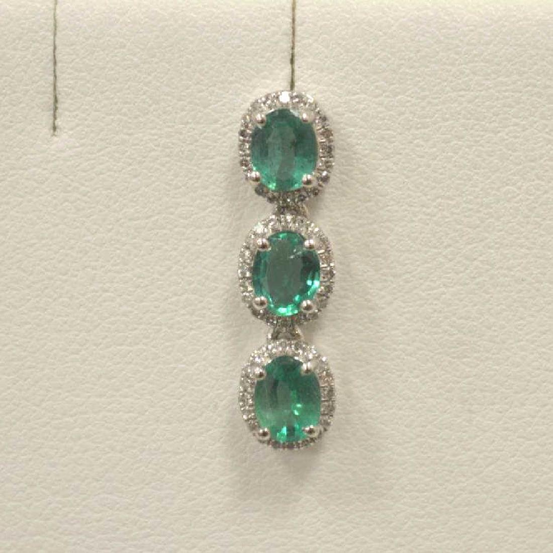 Platinum Emerald and Diamond Earrings - 2