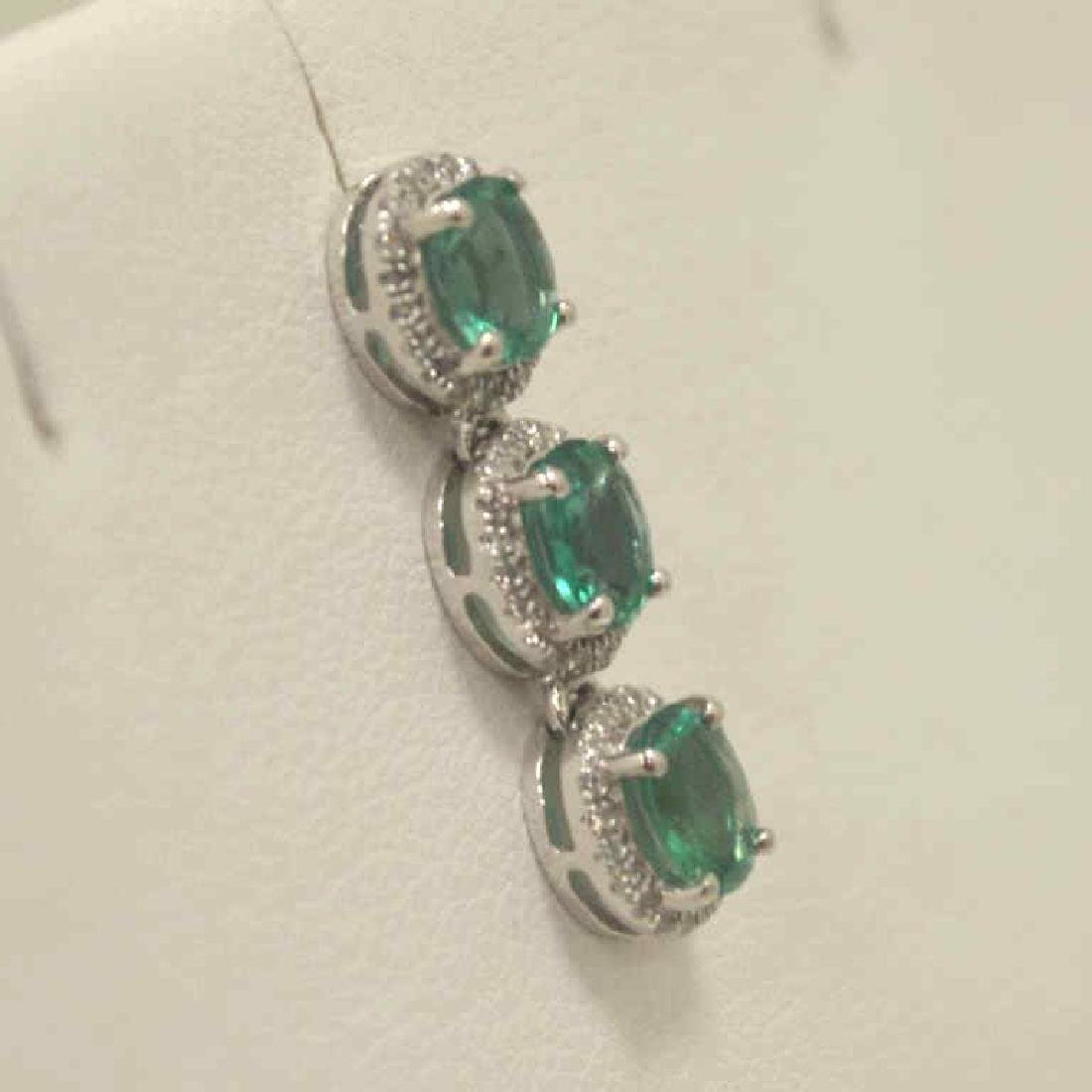 Platinum Emerald and Diamond Earrings - 3