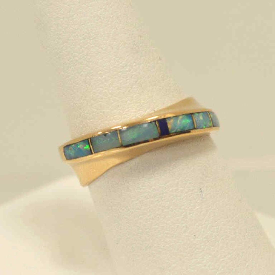 14kt yellow gold opal inlay ring - 2