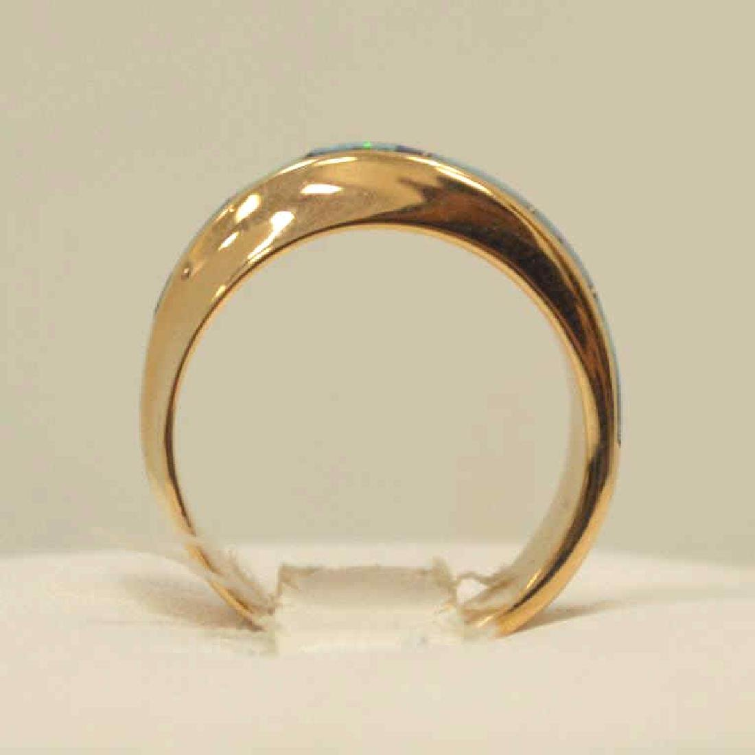 14kt yellow gold opal inlay ring - 3