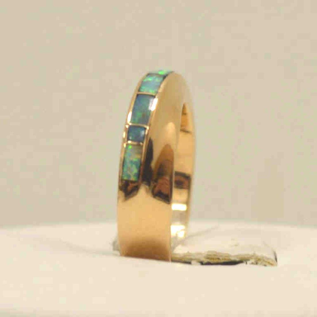 14kt yellow gold opal inlay ring - 4