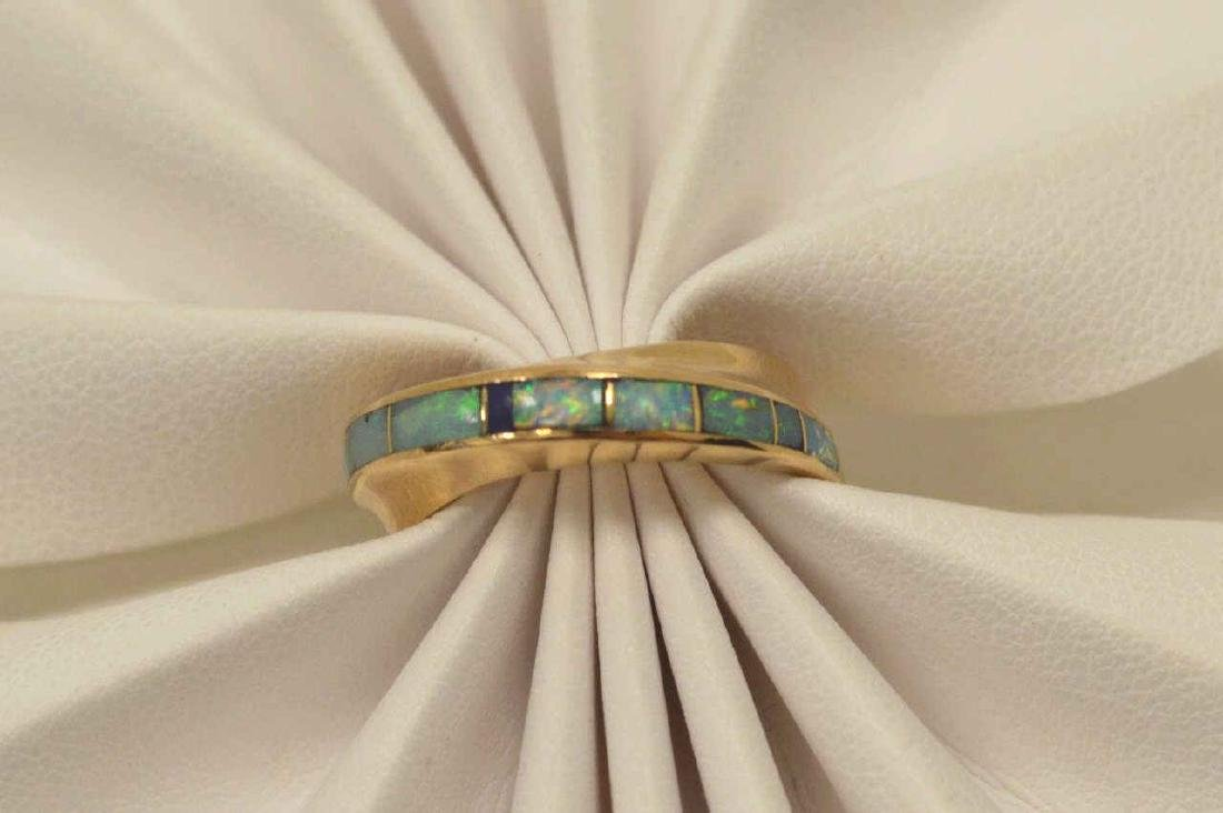 14kt yellow gold opal inlay ring - 5