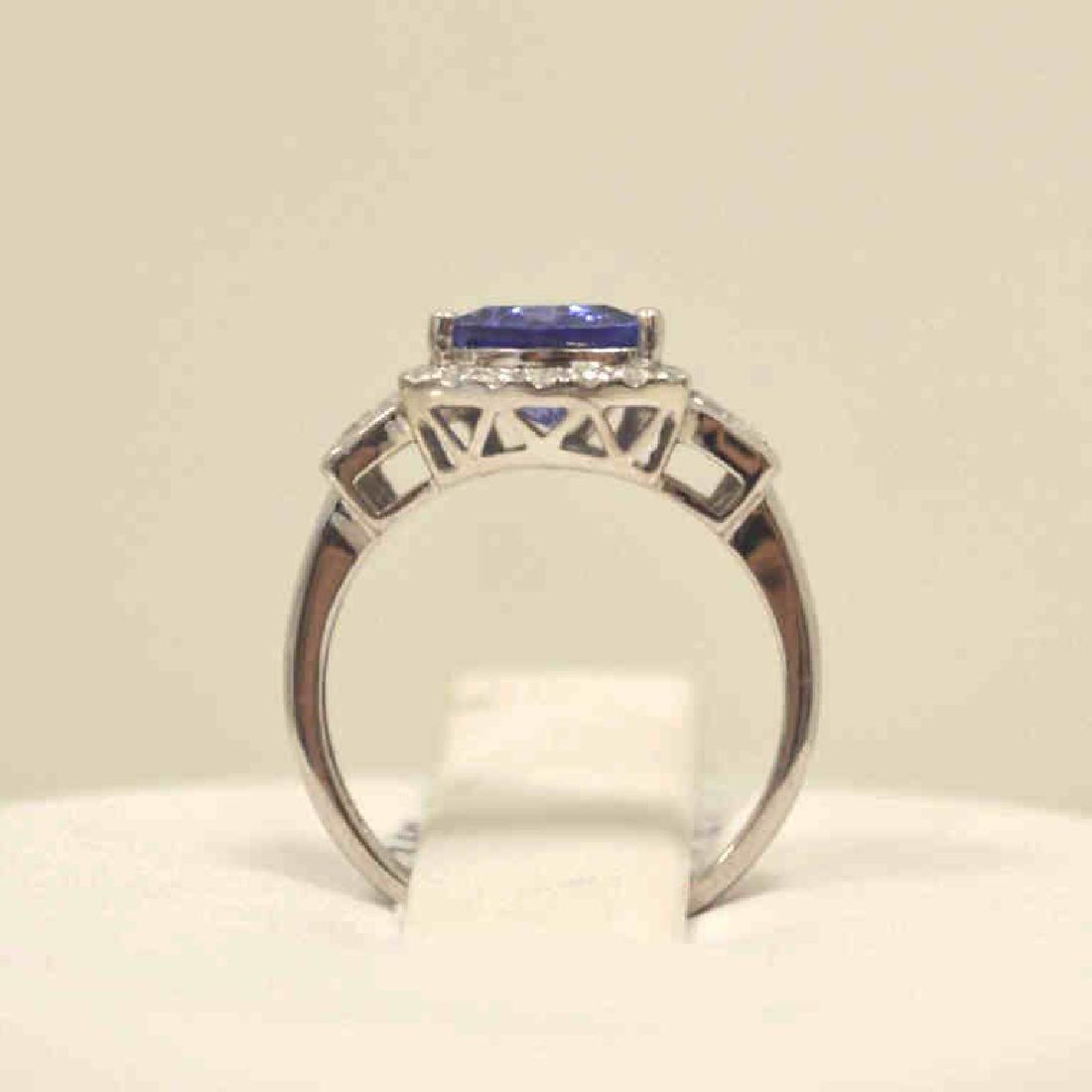 14kt white gold tanzanite and diamond ring - 3