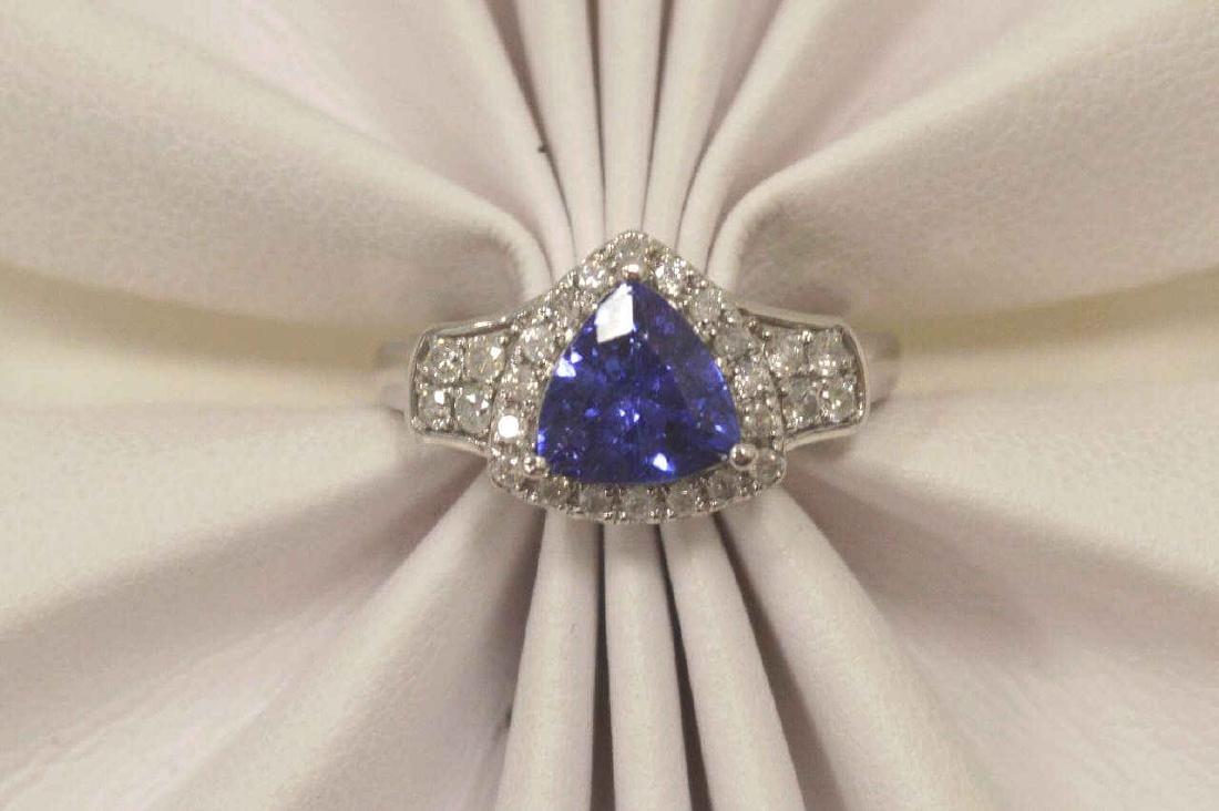 14kt white gold tanzanite and diamond ring - 5
